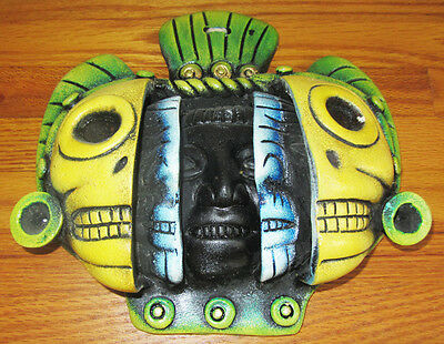 1930's ONE OF A KIND Maya Mayan Culture Art Piece LIFE & DEATH Mask Chichen Itza
