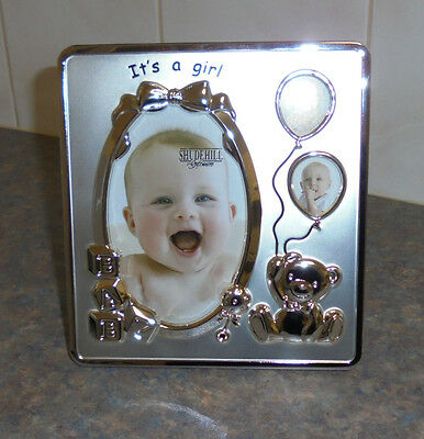 - New - It's A Girl Photo Frame- 3 Pictures - Satin Silver