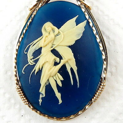 The Dance Fairy Cameo Pendant 14K Rolled Gold Jewelry Blue Resin