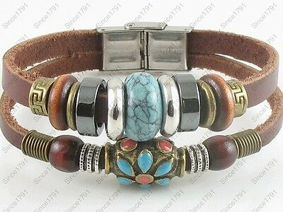 Surfer Tribal Brown Leather Bracelet Wristband Men Women w/Buckle Turquoise Bead