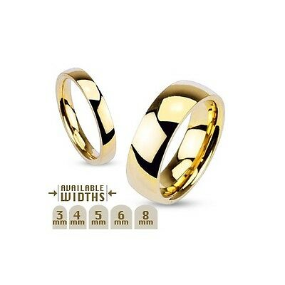 New Men's Women's Polished Gold Plated over Stainless Steel Wedding Band Ring