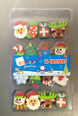 Pack of 16 Mini Christmas Character Erasers