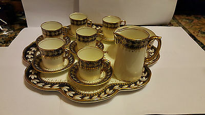 Superb Late 19th C or Early 20th Aynsley Complete MOCHA set with plate - mint