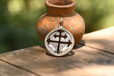 Silver Cross Antique style Large Pendant Men Gift Jewelry Ethiopian Handmade