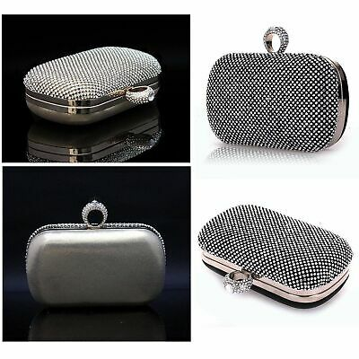 Womens Diamante Clutch Bag Wedding Engagement Birthday Party Black Gold Silver
