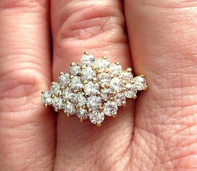 Vermeil Sterling Gold Wash Ladies Cocktail Ring White Stone Cluster Crown