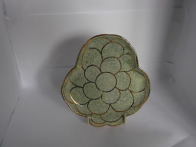 "Oldcourt Ware, Handpainted, Lustre, 'Clover Leaf' 6"" Pin Tray"