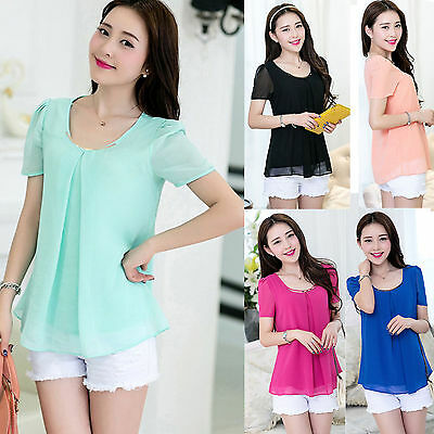 Fashion Women Batwing Chiffon Short Sleeve Shirt Casual Tops Blouse Size M-3XL