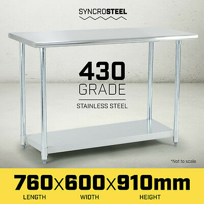 NEW 600 x 760 STAINLESS STEEL 430 COMMERCIAL WORKBENCH BENCH TABLE