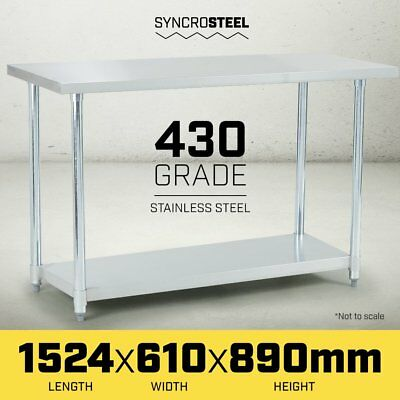 NEW 1524 x 610mm STAINLESS STEEL 430 COMMERCIAL WORKBENCH BENCH TABLE