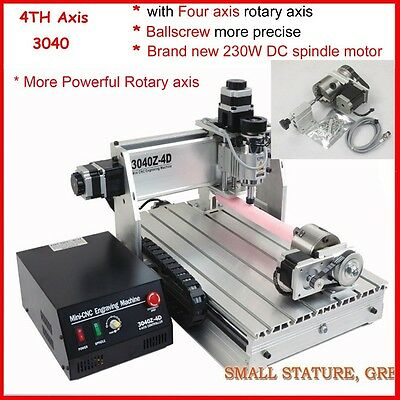 four 4 axis 3040 cnc router engraver engraving milling and drilling machine