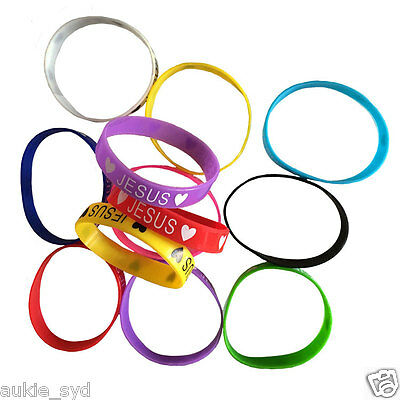 100 of Silicone Wristbands - Multi Colour  < ❤ Jesus ❤ >