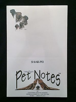 Shar Pei Notepad Paper Stationery Puppy Dog Gift White NEW Pet Notes