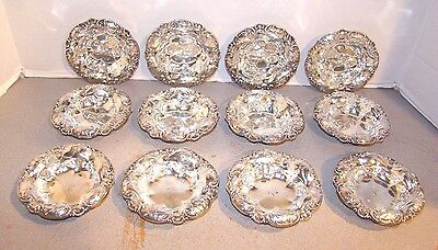 Whiting Sterling Set of 12 Floral Nuts Bowls Dishes #6072