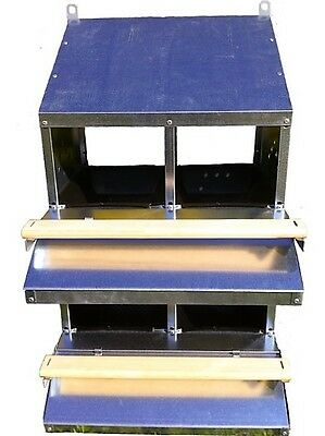 """FAMOUS 4-HOLE """"ROLL-AWAY"""" CHICKEN / HEN NEST BOX (FOR UP TO 20 CHOOKS / Poultry)"""