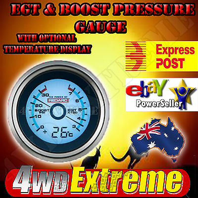 REDARC EGT & BOOST PRESSURE GAUGE with OPT TEMP DISPLAY 4WD RACE DRAG G52-BET