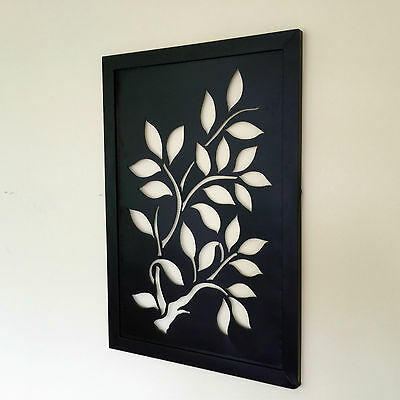 Large Square Abstract Framed Metal Wall Sculpture Wall Art Leaves Tree Pattern