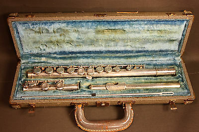 Vintage Hoosier Chrome Plated Brass Flute With Case #66353 - Elkart Indiana