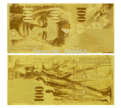 Switzerland Francs 100 Schweizer Franken Gold Replica