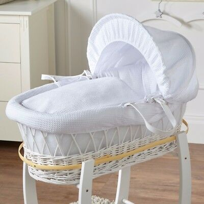 New White Waffle White Wicker Deluxe Padded Moses Basket