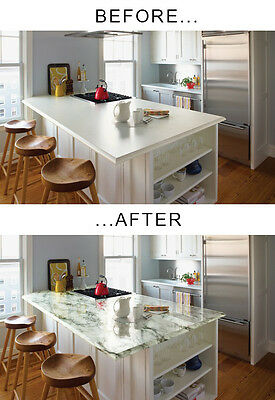 White black fake faux marble vinyl counter top film 25ft x 4ft adhesive decal