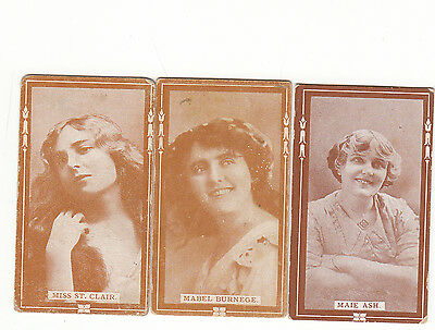 ACTRESSES Cigarette/Tobacco Cards c1910 by B.A.T. x3