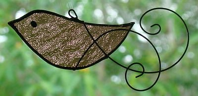 ANTIQUE PINK DOVE with HAND SCROLLED WIRE WINGS Stained Glass SUNCATCHER GIFT