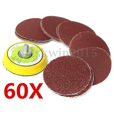 "60Pcs 2"" Inch Multi Mix Sanding Disc Grit Polishing Sander Pads + Drill Adapter"