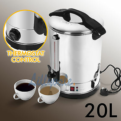 20L Litre Electric Stainless Steel Catering Hot Water Boiler Tea Urn Commercial