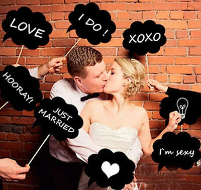 10pcs Chalkboard Cardboard Signs Speech Bubbles Photo Booth Props Wedding Party