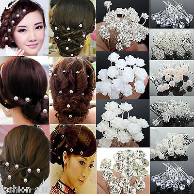 20/40pcs Wedding Bridal Pearl Flower Crystal Hairpin Hair Pins Clips Accessories