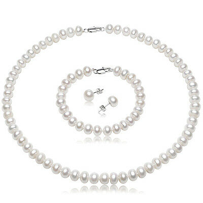 Genuine Fine Natural Classic Freshwater Pearl Necklace Set, 925 Silver Earrings