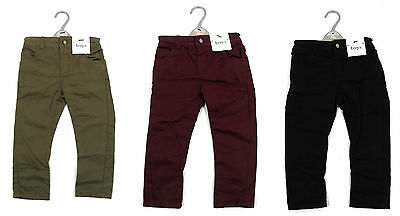 Boys Classic Skinny Trousers Pants Chinos Stone Navy Burgundy 9 Months - 5 Years