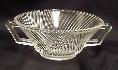 Federal Glass Diana Clear Cream of Soup Bowl Handled Angled Ridges Swirl Vintage