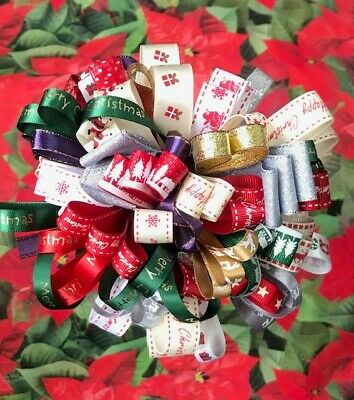 CHRISTMAS RIBBON BUNDLES 10 x 1M GIFT WRAPPING, WREATHS, DECORATIONS, CRAFTS