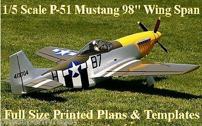 """P-51 Mustang 1/5 Scale 98"""" WS RC Airplane Full Size PRINTED Plans & Templates"""