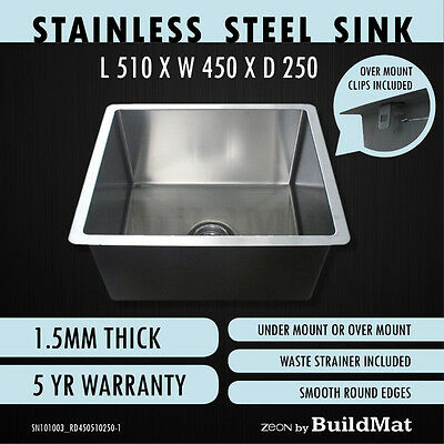 510X450X250 Single Bowl Stainless Steel Kitchen Sink Laundry Trough Round Edges