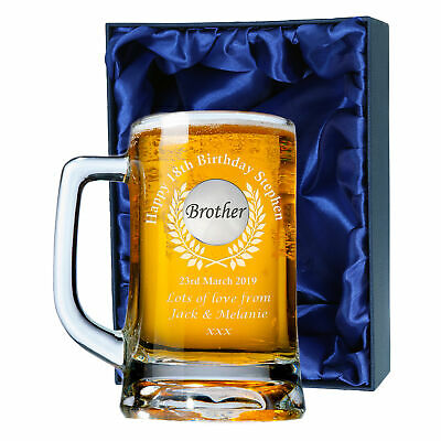 'Brother' Engraved Beer Tankard 18th 21st Birthday Personalised Boxed Gift