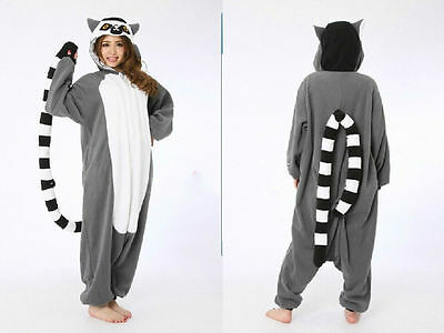 Unisex Animal Onesie Costume Madagascar Ring-tailed Lemur Adult Kigurumi Pajamas