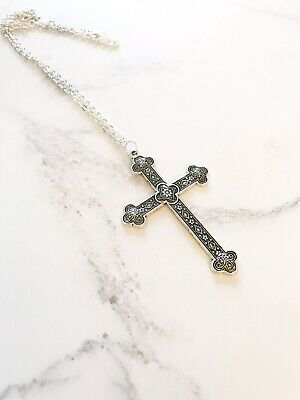 Large Silver  Martyrs Medieval Cross  Necklace Gothic 24""