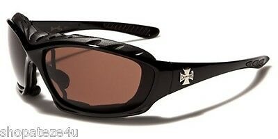 Choppers Men's Padded Goggles - Black With Brown Shatter Proof Lens