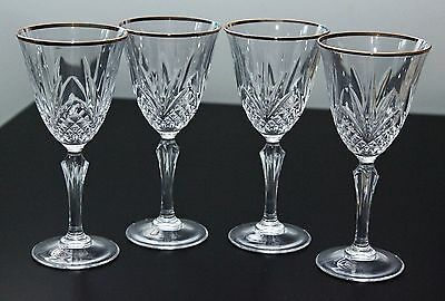 NEW BOXED SET of 4 SALZBURG GOLD TRIM TALL CRYSTAL WINE GLASSES. MADE IN FRANCE
