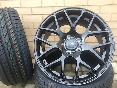 """19"""" M3 M4 Style Black Staggered Alloy Wheels + Tyres Bmw 1 2 3 4 5 Series X3"""