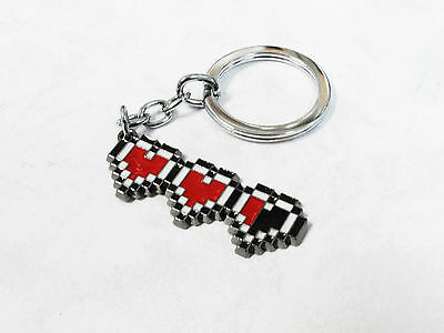 8-Bit Hearts Keychain, key chain keyring retro heart containers gaming geek