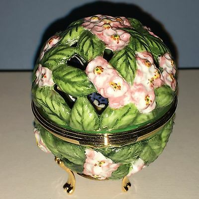 Halcyon Days Enamels Bonbonnieres Pink Trellis with Butterflies New In Box
