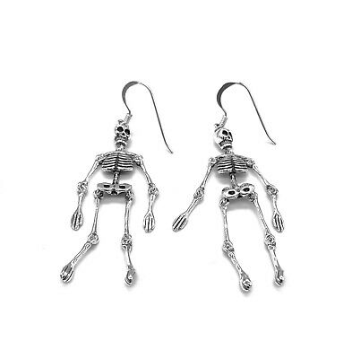 925 Sterling Silver Whole Body Drop Dangling Gothic Skeleton Earrings