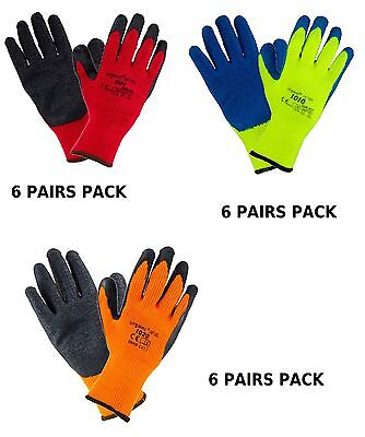 Winter Safety Work Gloves 6 Pairs Builders Garden Mechanic Thermal Strong Grip