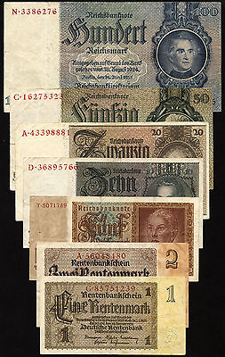 Germany III Reich Set 7 Banknotes (1933-45) used VF