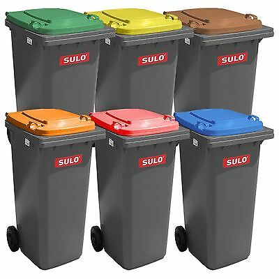 SULO containers 120 L and 240 L, 2 wheels, grey with color lid