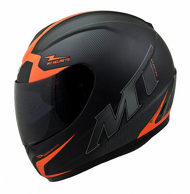 MT Thunder Squad Casque De Moto Noir Mat Orange Couvercle D'accident Scooter